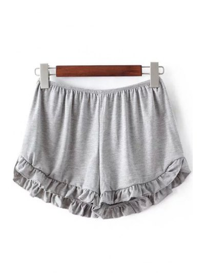 Solid Color Trimming Elastic Waist Shorts - Light Gray One Size(fit Size Xs To M)