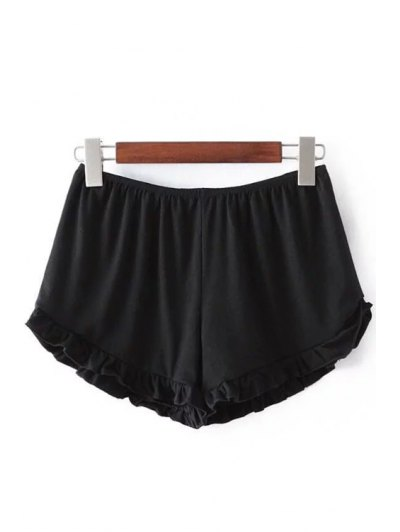 Solid Color Trimming Elastic Waist Shorts - Black One Size(fit Size Xs To M)
