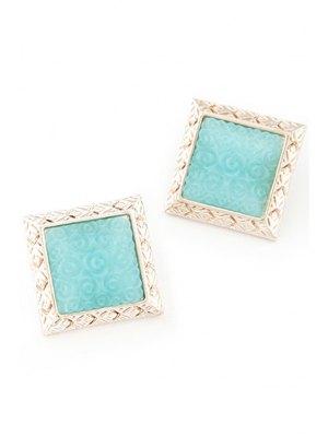 Carving Faux Gemstone Square Earrings - Lake Blue