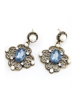 Faux Pearl Hollow Out Flower Earrings - Blue
