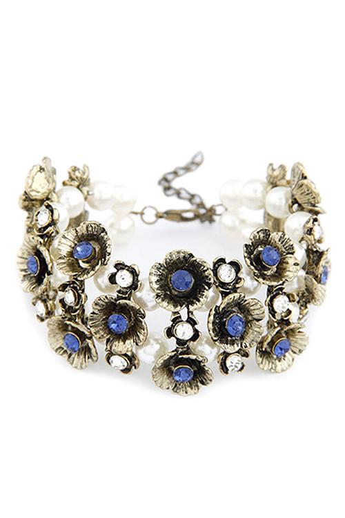 Retro Rhinestone Flower Faux Pearl Bracelet For Women