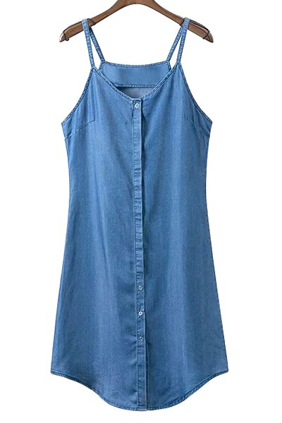 Collarless Sleeveless Single-Breasted Denim Dress