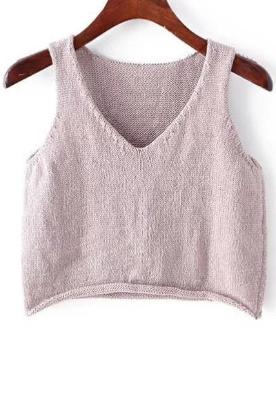 Plunging Neck Sleeveless Solid Color Knit Tank Top 171787702