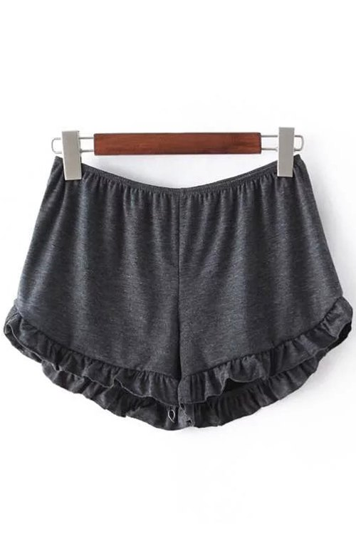 Elastic Waist Solid Color Trimming Shorts
