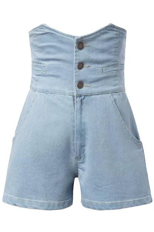 High Waist Solid Color Denim Shorts