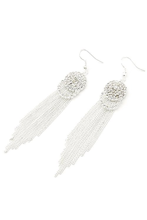 Pair of Punk Rhinestone Link Chain Tassel Earrings For Women