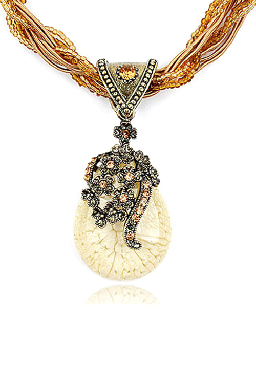 Bohemia Faux Crystal Water Drop Flower Pendant Necklace For Women