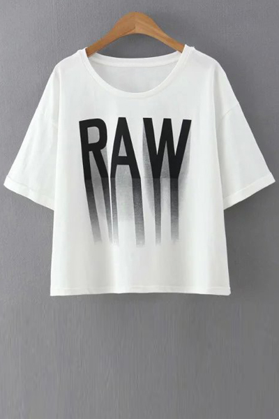 Letter Print Round Collar Half Sleeve T-ShirtClothes<br><br><br>Size: S<br>Color: WHITE