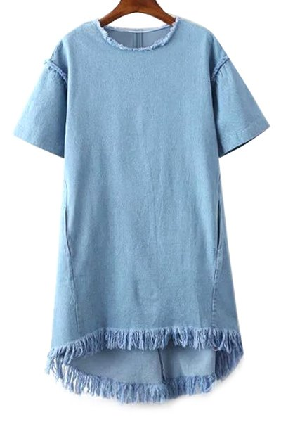 Round Collar Short Sleeve Fringes Denim Dress