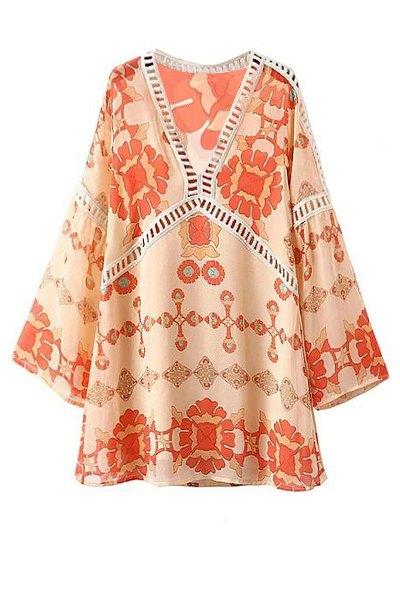 Printed V-Neck Long Sleeve Lacework Splicing DressClothes<br><br><br>Size: L<br>Color: WARM WHITE LIGHT