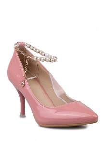 Buy Ankle Strap Beading Patent Leather Pumps 38 PINK