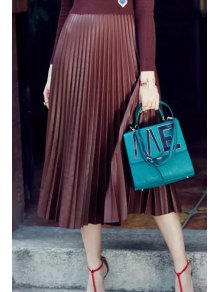 PU Leather High Waisted Pleated Skirt