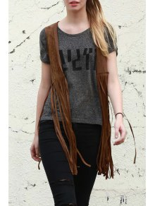 Wild West Suede Fringe Chaleco - Camello