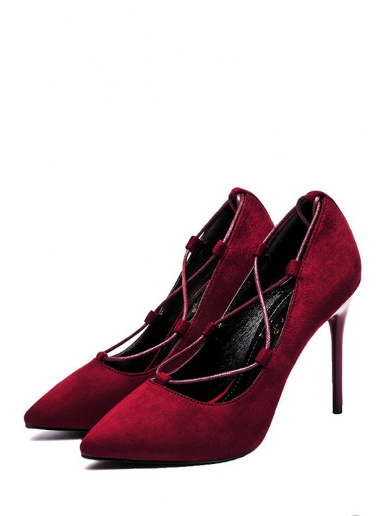 Cross-Strap and Flock Pointed Toe Pumps - CLARET 38 Mobile