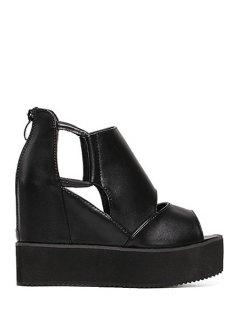 Black Platform Wedge Heel Peep Toe Shoes - Black 39