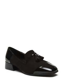 Tassel Splicing Square Toe Flat Shoes - Black 39