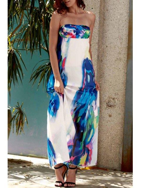 womens Strapless Floral Maxi Dress - PURPLISH BLUE XL Mobile