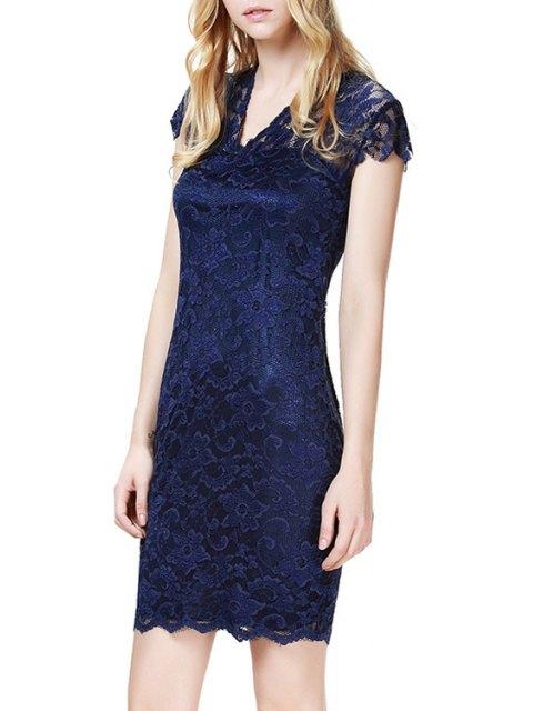 unique Lace V Neck Short Sleeve Bodycon Dress - PURPLISH BLUE XL Mobile
