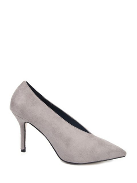 lady Flock Solid Color Pointed Toe Pumps - GRAY 38 Mobile
