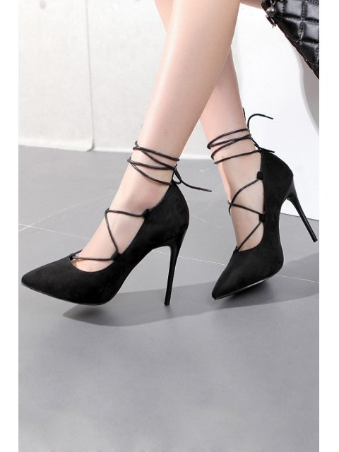 affordable Cross-Strap and Flock Pointed Toe Pumps - BLACK 39 Mobile