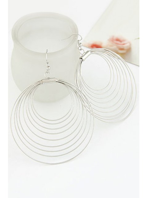 shop Round Multilayered Earrings - SILVER  Mobile