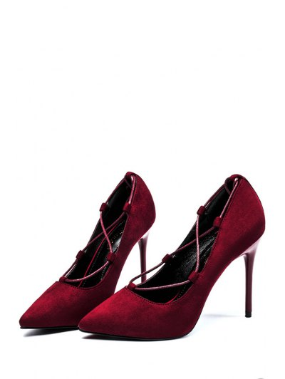 Cross-Strap and Flock Pointed Toe Pumps - CLARET 37 Mobile