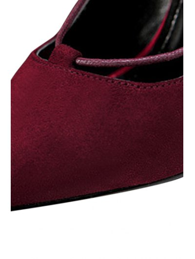 Cross-Strap and Flock Pointed Toe Pumps - CLARET 35 Mobile