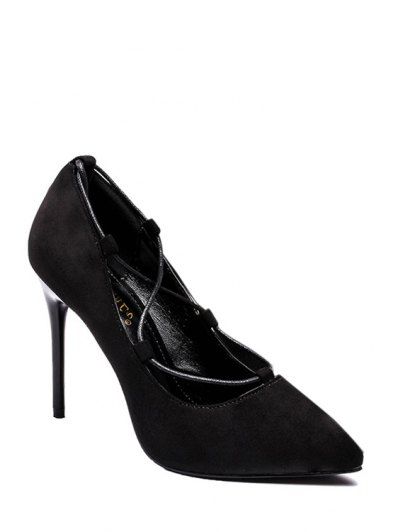 Cross-Strap and Flock Pointed Toe Pumps - BLACK 39 Mobile