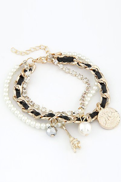 Stylish Faux Pearl Multi-Layered Eiffel Tower Bracelet For Women