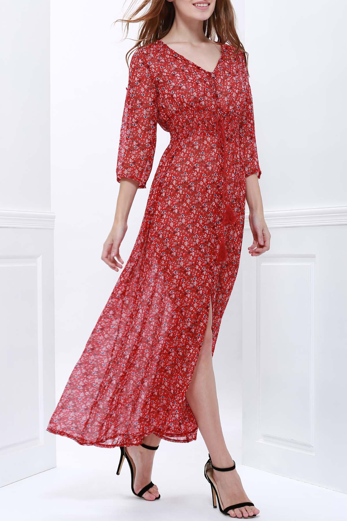 Plunging Neck Short Sleeve Tiny Floral Maxi Dress