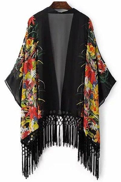 Open Front Kimono Sleeve Tassels Blouse