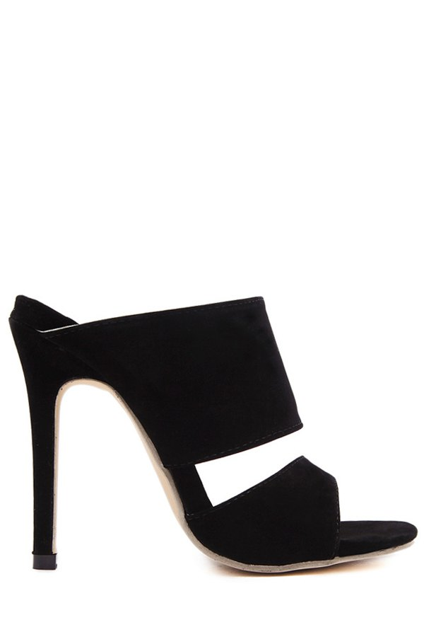 Black Peep Toe Stiletto Heel Slippers