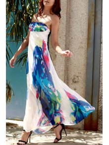 Strapless Floral Maxi Dress - Purplish Blue S