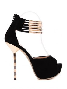Metal Platform Stiletto Heel Peep Toe Shoes - Black 37