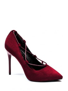 Cross-Strap And Flock Pointed Toe Pumps - Claret 38
