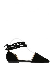 Solid Color Lace-Up Flock Flat Shoes - Black 40