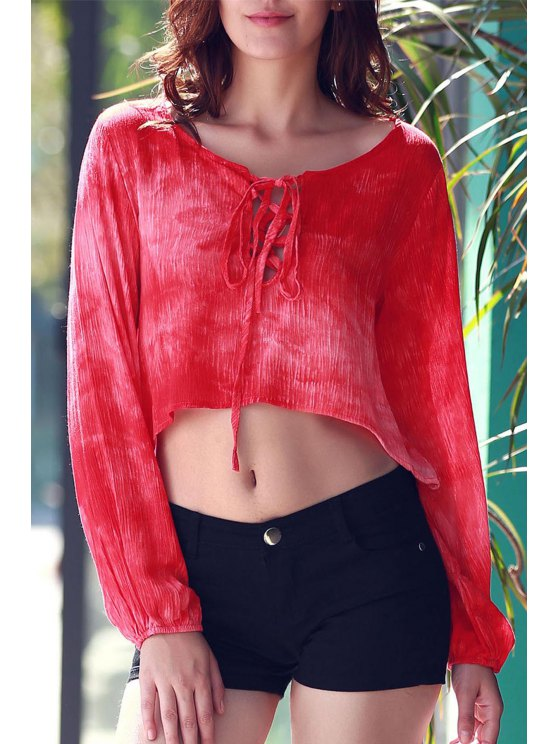 Tie Dye Lace Up Crop Top - RED M Mobile