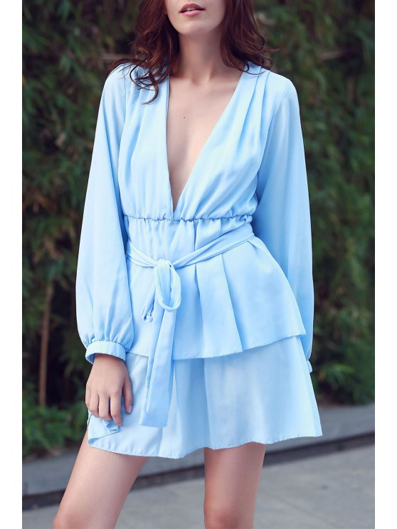 fashion Ashton Plunging Ruffle Dress - LIGHT BLUE M
