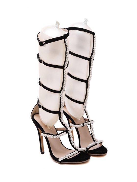 Beading Buckles Stiletto Heel Sandals - BLACK 36 Mobile