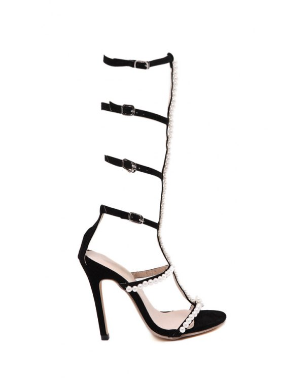 women's Beading Buckles Stiletto Heel Sandals - BLACK 40