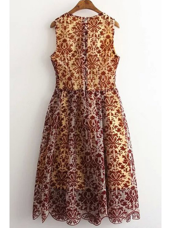 Sleeveless Baroque Pattern Lace Dress - COLORMIX L Mobile
