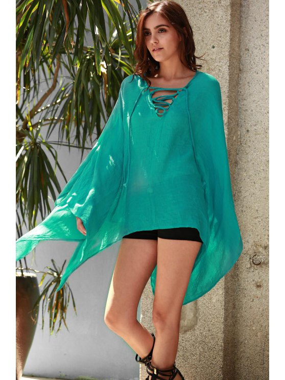 Solid Color V-Neck Long Sleeve Loose Dress - TURQUOISE ONE SIZE(FIT SIZE XS TO M) Mobile