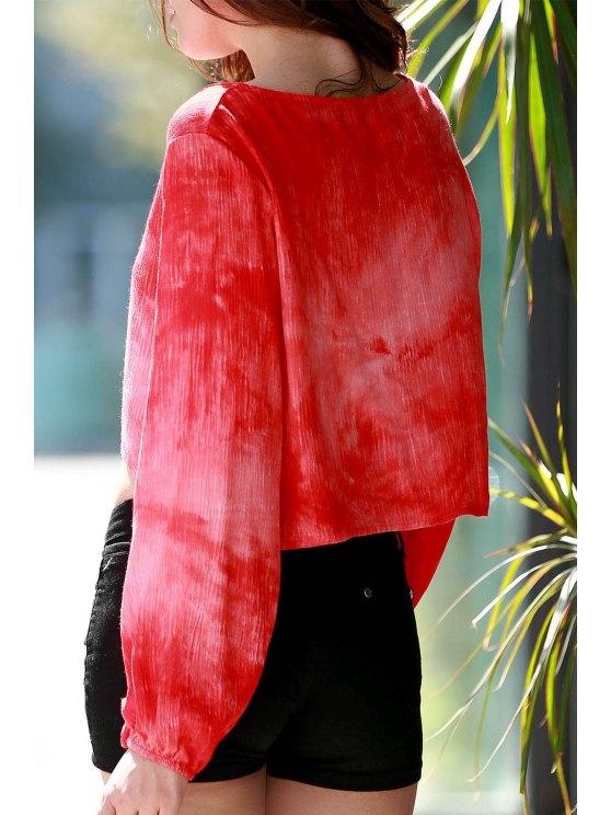 Orange Plunging Neck Long Sleeve Blouse - ORANGE L Mobile