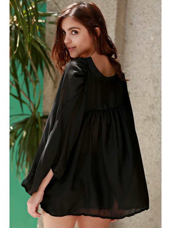 See-Through Plunging Neck Half Sleeve Blouse - BLACK S Mobile