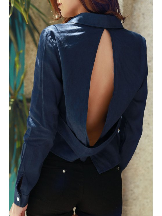latest Denim Long Sleeve Hollow Back Shirt - DEEP BLUE S