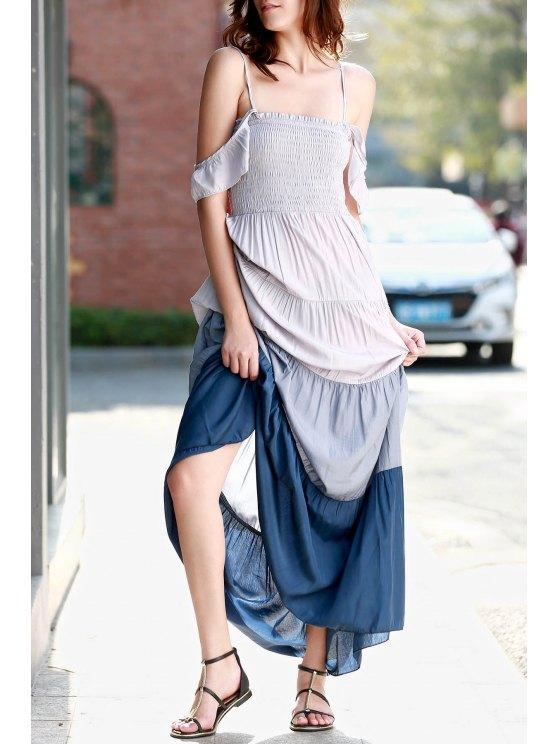 Ombre Color Spaghetti Straps Maxi Dress - GRAY L Mobile
