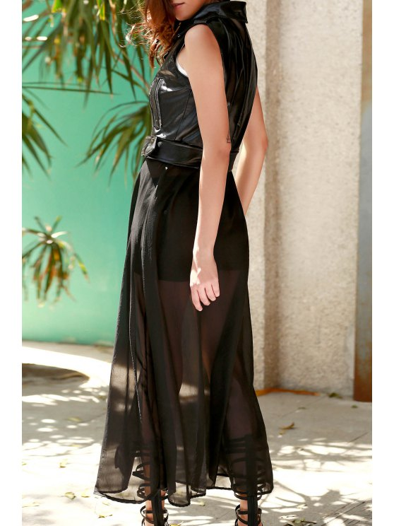 Black PU Leather Turn Down Collar Waistcoat - BLACK M Mobile