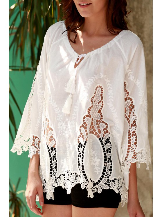 fancy Isabel Crochet Plunging Neck White Blouse - WHITE S
