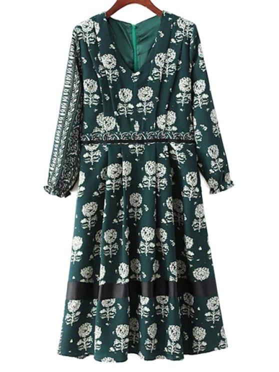 Diente de león de impresión con cuello en V vestido de manga larga - Verde L