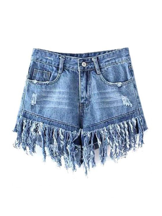 Borlas empalmadas Pantalones cortos de talle alto dril de algodón - Azul claro XL